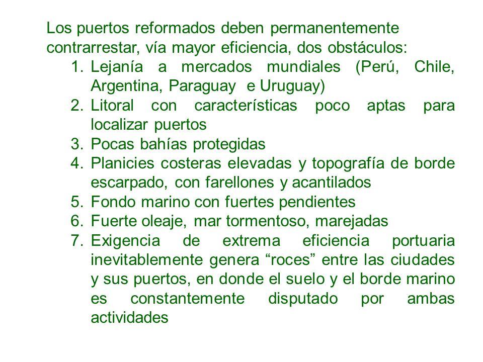 Los puertos reformados deben permanentemente contrarrestar, vía mayor eficiencia, dos obstáculos: 1.Lejanía a mercados mundiales (Perú, Chile, Argenti