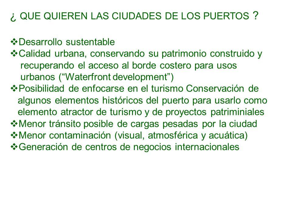 ¿ QUE QUIEREN LAS CIUDADES DE LOS PUERTOS ? Desarrollo sustentable Calidad urbana, conservando su patrimonio construido y recuperando el acceso al bor