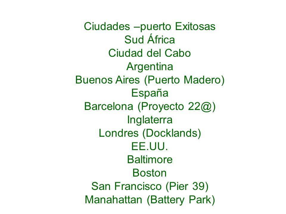Ciudades –puerto Exitosas Sud África Ciudad del Cabo Argentina Buenos Aires (Puerto Madero) España Barcelona (Proyecto 22@) Inglaterra Londres (Dockla