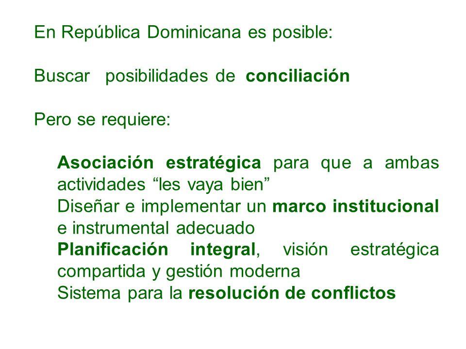 En República Dominicana es posible: Buscar posibilidades de conciliación Pero se requiere: Asociación estratégica para que a ambas actividades les vay