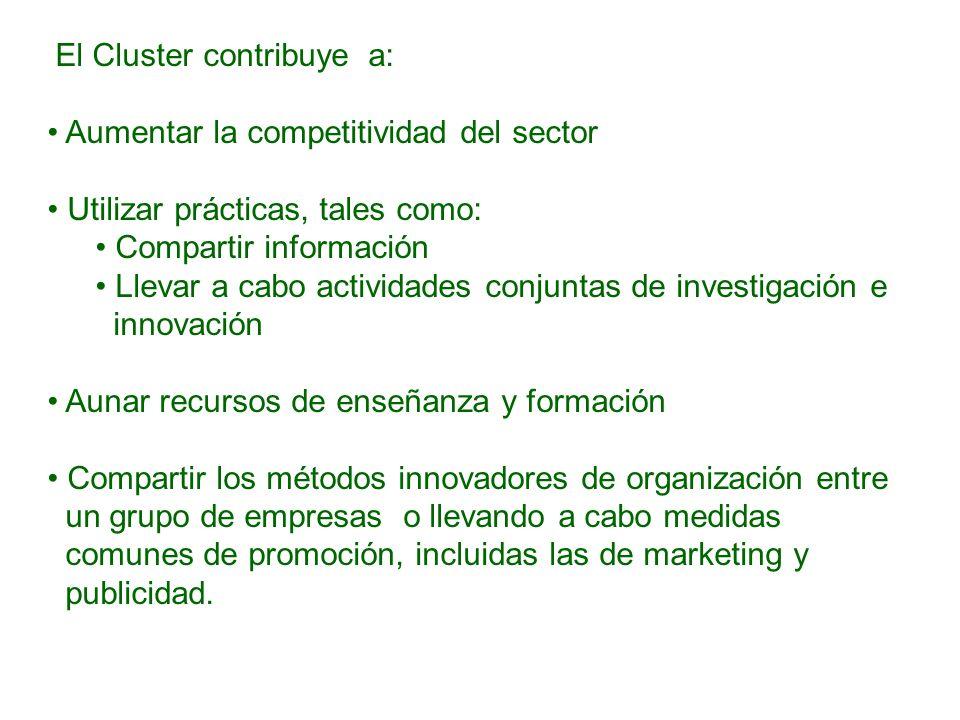 El Cluster contribuye a: Aumentar la competitividad del sector Utilizar prácticas, tales como: Compartir información Llevar a cabo actividades conjunt
