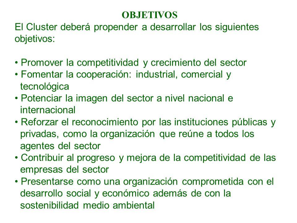 OBJETIVOS El Cluster deberá propender a desarrollar los siguientes objetivos: Promover la competitividad y crecimiento del sector Fomentar la cooperac