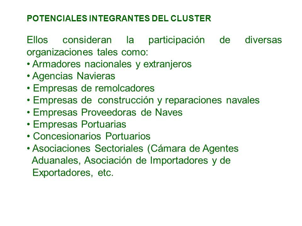 POTENCIALES INTEGRANTES DEL CLUSTER Ellos consideran la participación de diversas organizaciones tales como: Armadores nacionales y extranjeros Agenci