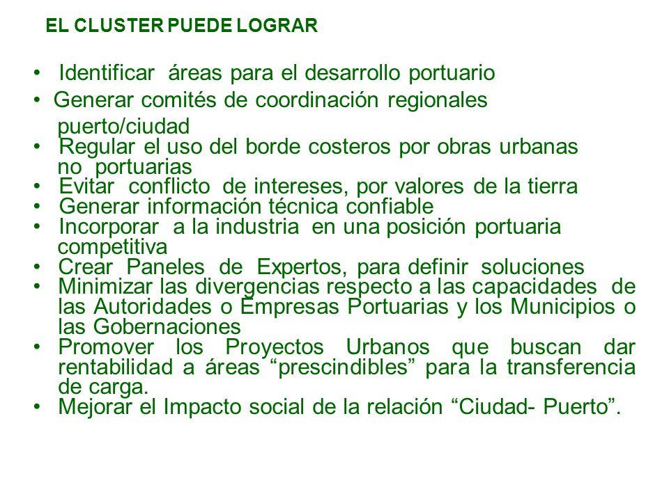 EL CLUSTER PUEDE LOGRAR Identificar áreas para el desarrollo portuario Generar comités de coordinación regionales puerto/ciudad Regular el uso del bor
