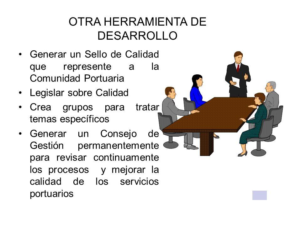 OTRA HERRAMIENTA DE DESARROLLO Generar un Sello de Calidad que represente a la Comunidad Portuaria Legislar sobre Calidad Crea grupos para tratar tema