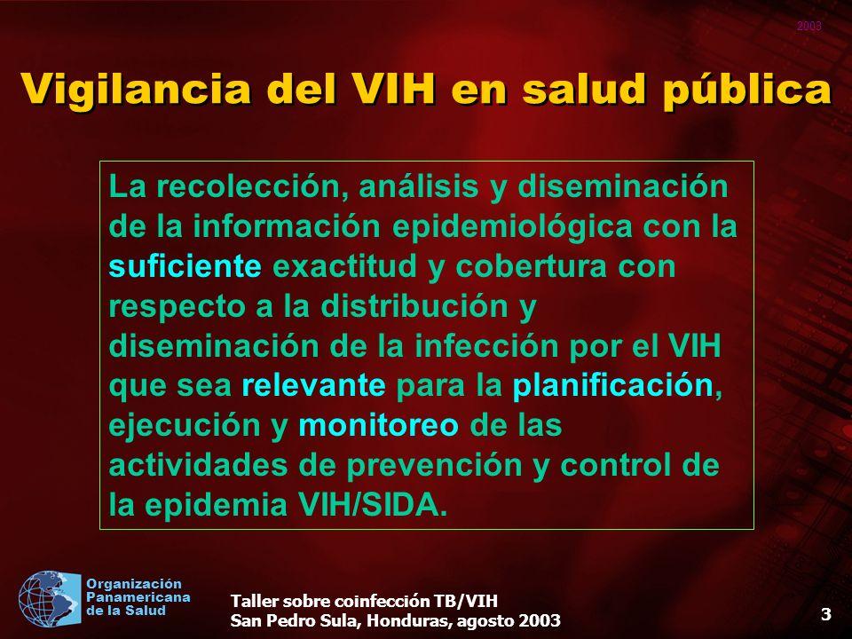 2003 Organización Panamericana de la Salud Taller sobre coinfección TB/VIH San Pedro Sula, Honduras, agosto 2003 13 Diferentes métodos de vigilancia 1.Encuestas periódicas 2.Métodos centinelas 3.Datos de rutina de pruebas de VIH de pacientes con tuberculosis.