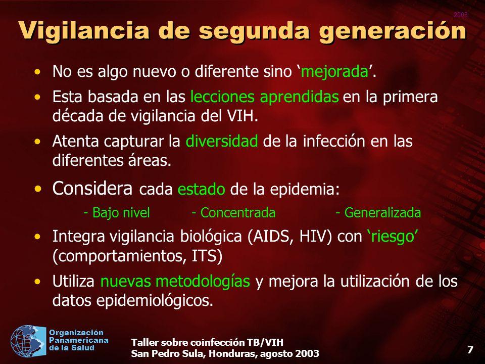 2003 Organización Panamericana de la Salud Taller sobre coinfección TB/VIH San Pedro Sula, Honduras, agosto 2003 17 Métodos de vigilancia para usar en diferentes entornos de prevalencia de VIH y tuberculosis (3) 3.Datos de las pruebas de rutina de VIH de los pacientes con tuberculosis –Países con una situación generalizada de la epidemia del VIH, o donde la prevalencia de infección por VIH entre los pacientes de tuberculosis está sobre el 5% debe ayudar a asegurar que las pruebas del VIH se promueva activamente y sea ofrecida a todos los pacientes con tuberculosis.