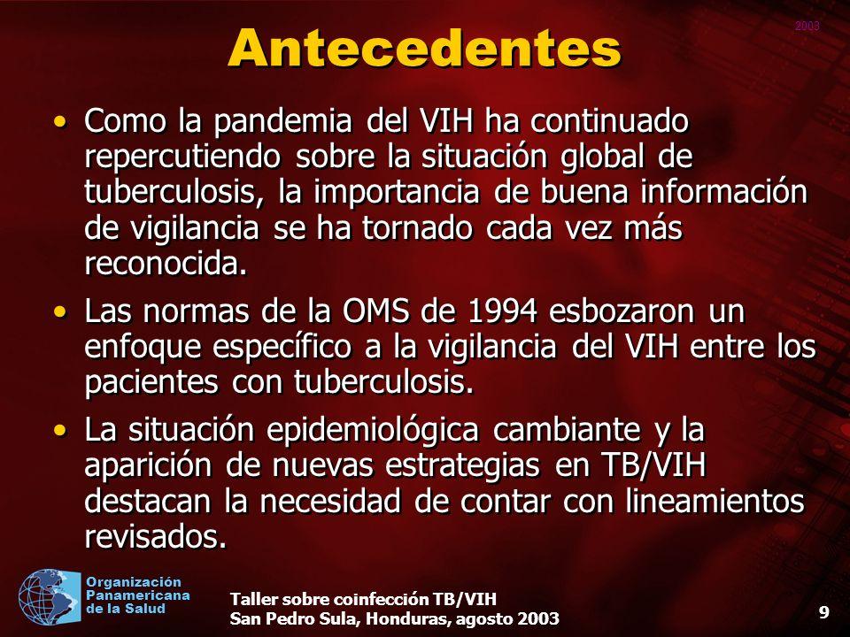 2003 Organización Panamericana de la Salud Taller sobre coinfección TB/VIH San Pedro Sula, Honduras, agosto 2003 9 Antecedentes Como la pandemia del VIH ha continuado repercutiendo sobre la situación global de tuberculosis, la importancia de buena información de vigilancia se ha tornado cada vez más reconocida.