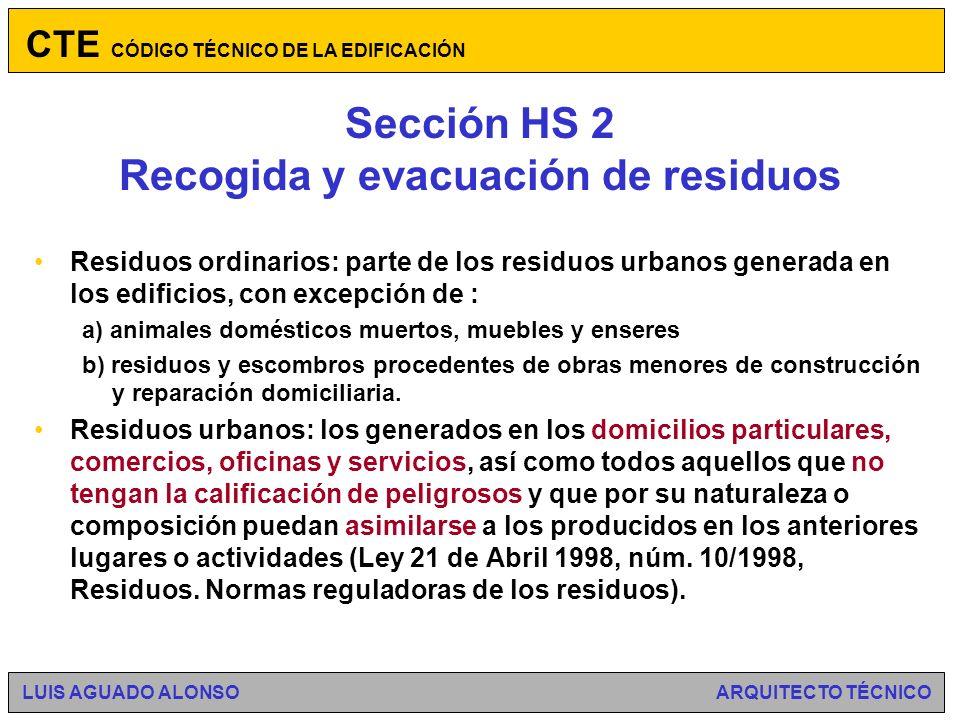 Sección HS 2 Recogida y evacuación de residuos Sostenibilidad.
