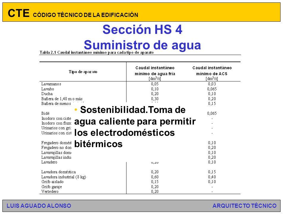 Sección HS 4 Suministro de agua Ámbito de aplicación, el general del CTE.