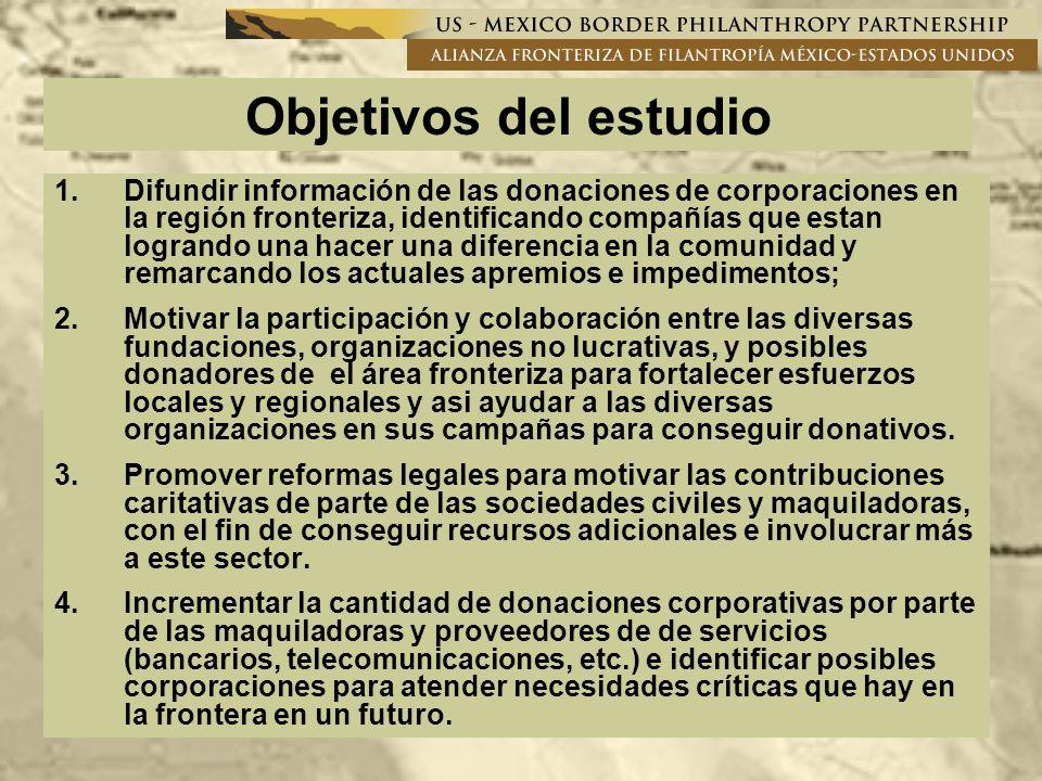 En coordinación con CEMEFI, abogar por cambios a las leyes de impuestos en Mexico para crear incentivos que incrementen las donaciones en la región fronteriza; Difunidir información de las diferentes organizaciones a las maquiladoras y sus proveedores para incrementar donaciones corporativas en la frontera; Aumentar la colaboración entre el sector maquiladora y la Alianza Fronteriza de Filantropía; Involucrar de una manera más amplia a la gerencia de las maquilas con diferentes directivos de las ONGs; Considerar la creación del Congreso de Filantropía Corporativa (2007)