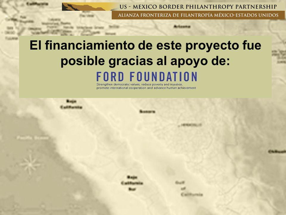 El financiamiento de este proyecto fue posible gracias al apoyo de: