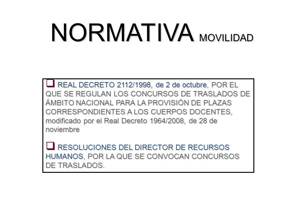 NORMATIVA MOVILIDAD REAL DECRETO 2112/1998, de 2 de octubre, POR EL QUE SE REGULAN LOS CONCURSOS DE TRASLADOS DE ÁMBITO NACIONAL PARA LA PROVISIÓN DE