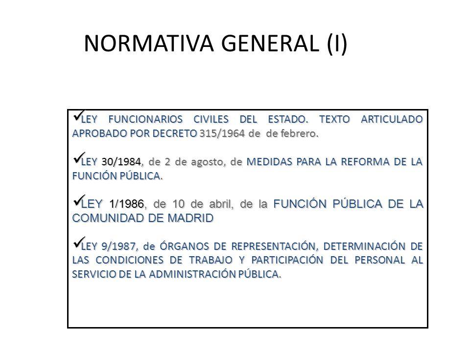 NORMATIVA GENERAL (I) LEY FUNCIONARIOS CIVILES DEL ESTADO. TEXTO ARTICULADO APROBADO POR DECRETO 315/1964 de de febrero. LEY FUNCIONARIOS CIVILES DEL