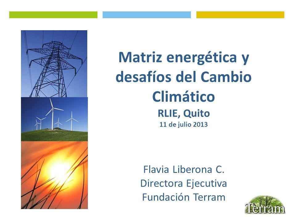 Matriz energética y desafíos del Cambio Climático RLIE, Quito 11 de julio 2013 Flavia Liberona C. Directora Ejecutiva Fundación Terram