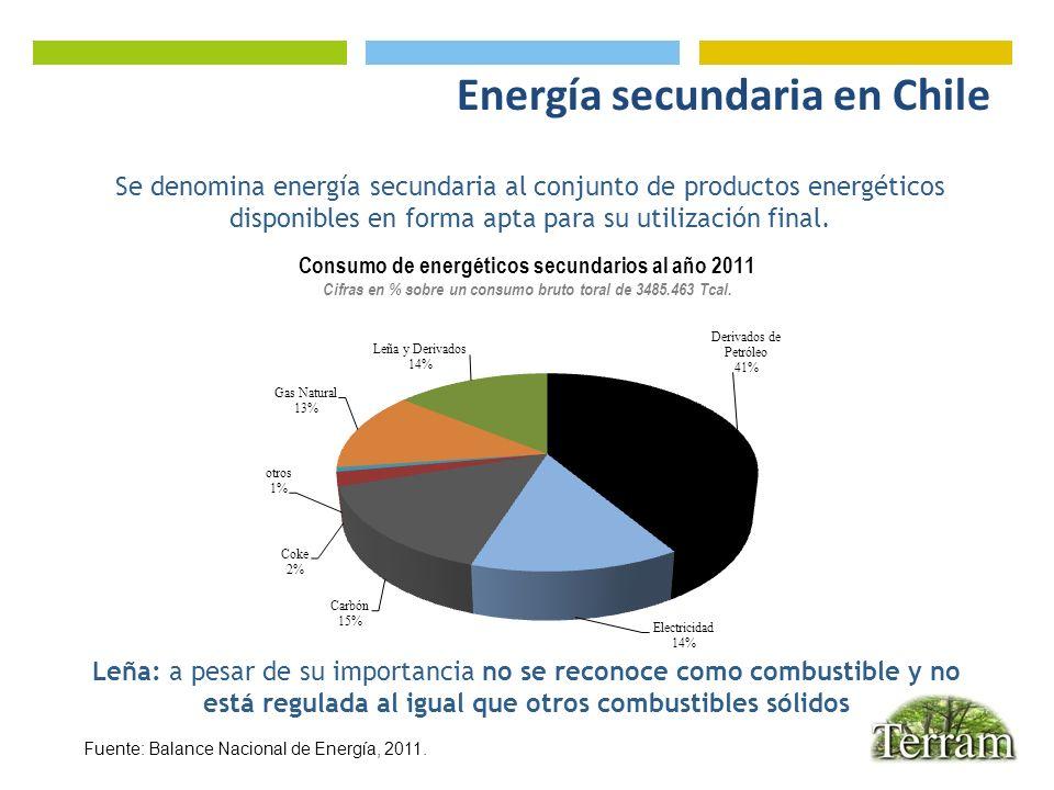 Energía secundaria en Chile Fuente: Balance Nacional de Energía, 2011. Se denomina energía secundaria al conjunto de productos energéticos disponibles