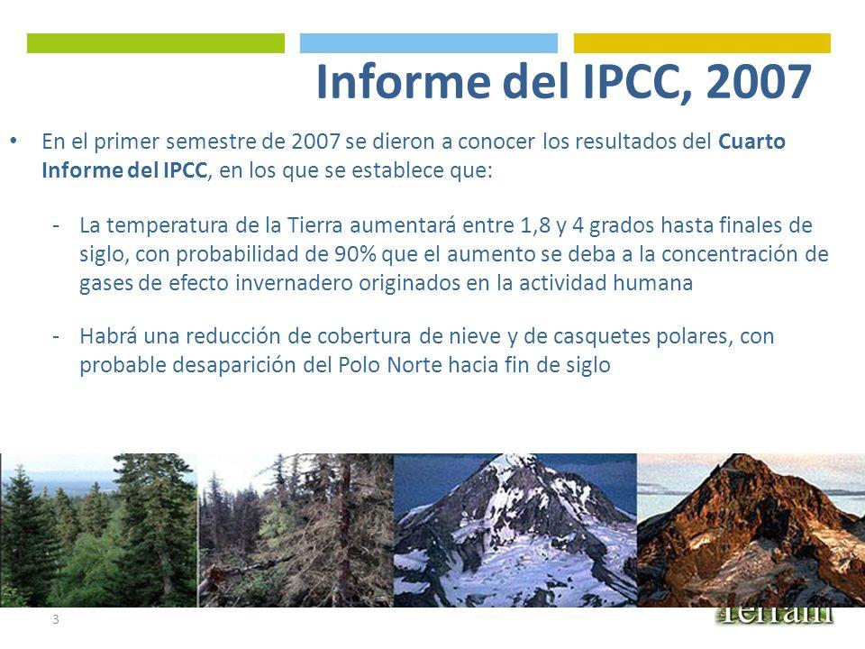 Último Informe del IPCC -Las precipitaciones aumentarán en las mayores latitudes, mientras que disminuirán en la mayor parte de las zonas subtropicales (en torno al 20% en 2100) -El calentamiento será mayor en los continentes que en los océanos y en las latitudes norte, y menor en el sur y en partes del Atlántico Norte -La elevación del nivel del mar podría llegar a los 59 centímetros -El quinto informe del IPCC, será dado a conocer durante 2013 y 2014 4