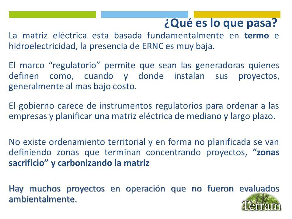 ¿Qué es lo que pasa? La matriz eléctrica esta basada fundamentalmente en termo e hidroelectricidad, la presencia de ERNC es muy baja. El marco regulat