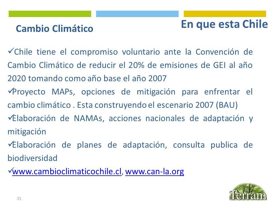 Cambio Climático 31 Chile tiene el compromiso voluntario ante la Convención de Cambio Climático de reducir el 20% de emisiones de GEI al año 2020 toma