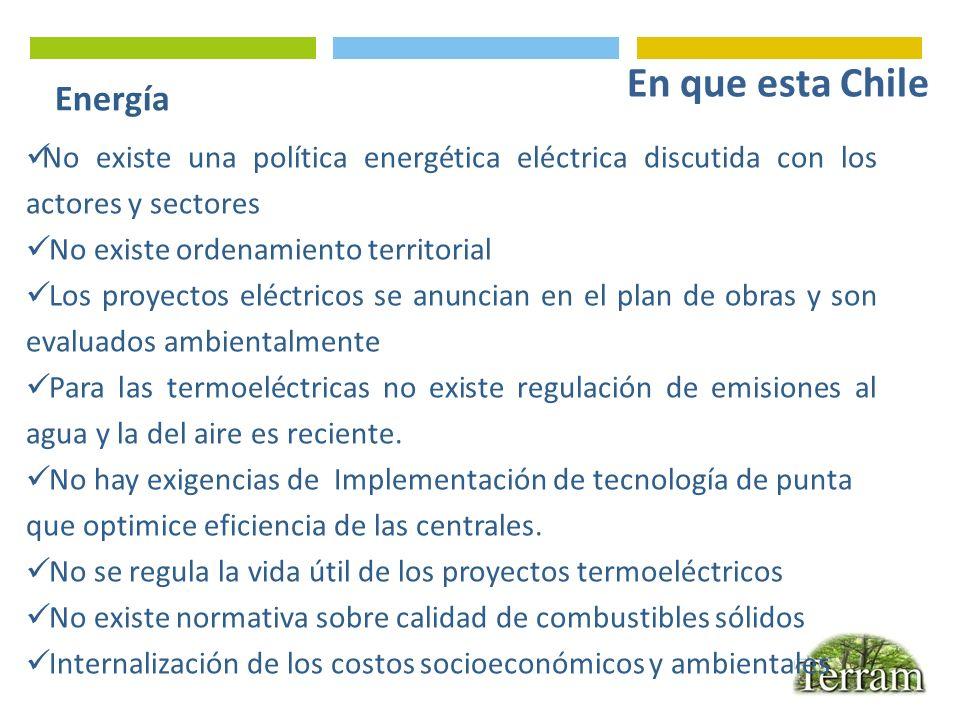 Energía No existe una política energética eléctrica discutida con los actores y sectores No existe ordenamiento territorial Los proyectos eléctricos s