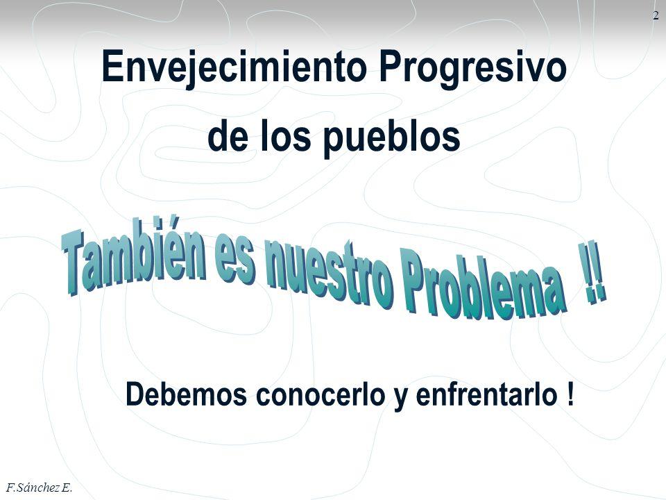 F.Sánchez E. 2 Envejecimiento Progresivo de los pueblos Debemos conocerlo y enfrentarlo !