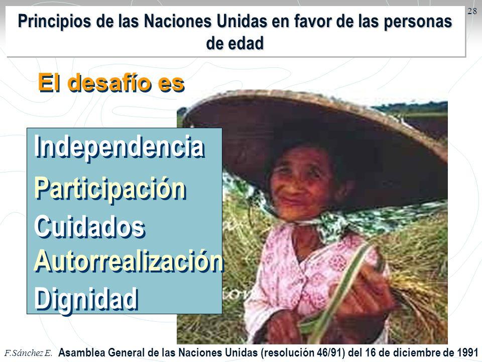 F.Sánchez E. 28 Asamblea General de las Naciones Unidas (resolución 46/91) del 16 de diciembre de 1991 Independencia Participación Cuidados Autorreali
