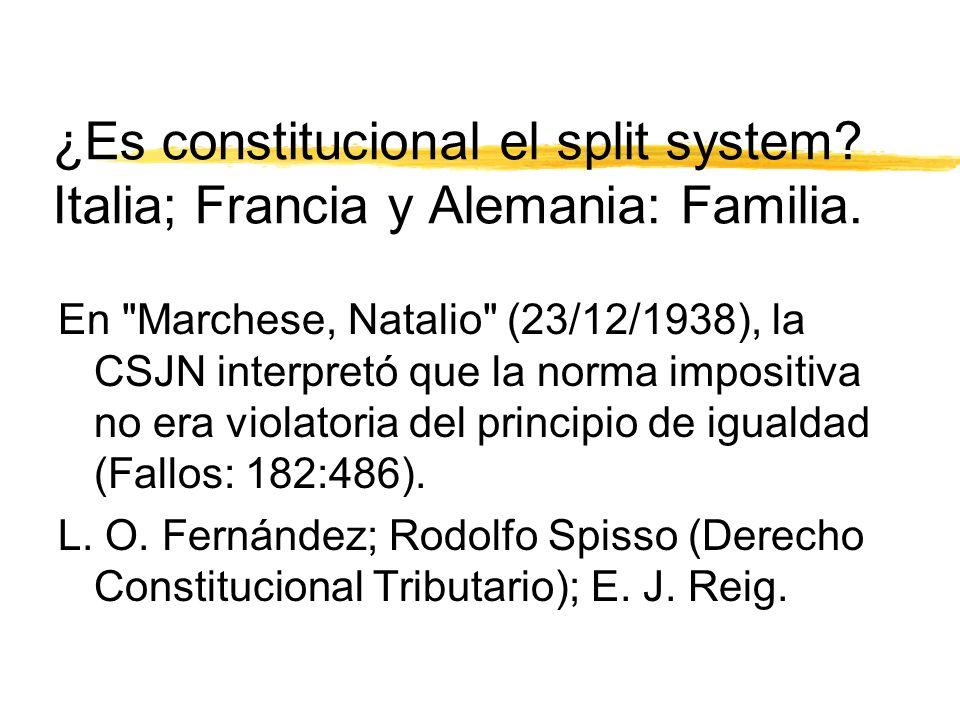 ¿Es constitucional el split system. Italia; Francia y Alemania: Familia.