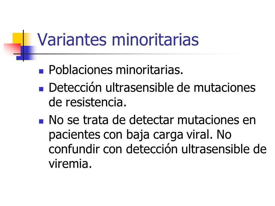 Mutaciones de resistencia VIRUS SALVAJE Mutación primariaNueva infección TAR Resistente a AR RESISTENCIA PRIMARIA