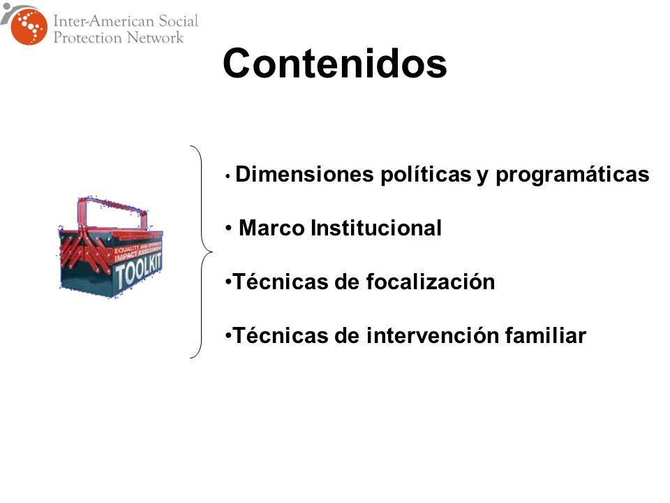 Dimensiones políticas y programáticas Marco Institucional Técnicas de focalización Técnicas de intervención familiar Contenidos