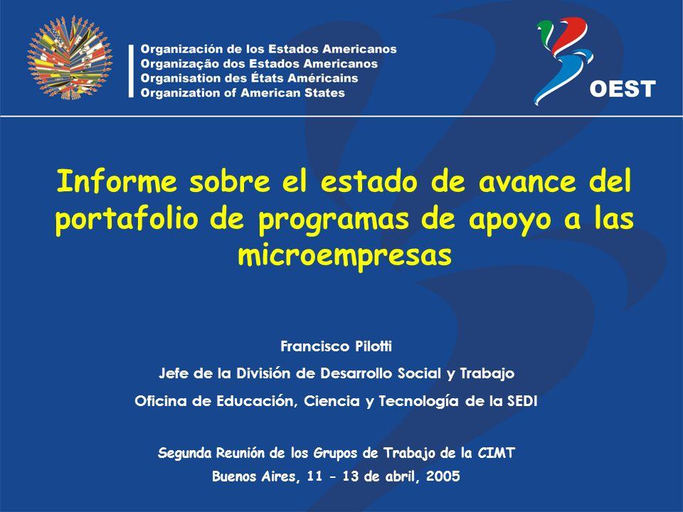 Francisco Pilotti Jefe de la División de Desarrollo Social y Trabajo Oficina de Educación, Ciencia y Tecnología de la SEDI Segunda Reunión de los Grup