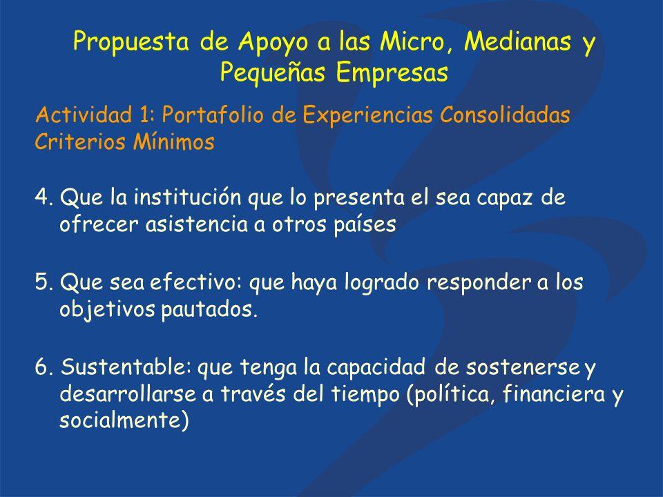 Actividad 1: Portafolio de Experiencias Consolidadas Criterios Mínimos 4. Que la institución que lo presenta el sea capaz de ofrecer asistencia a otro