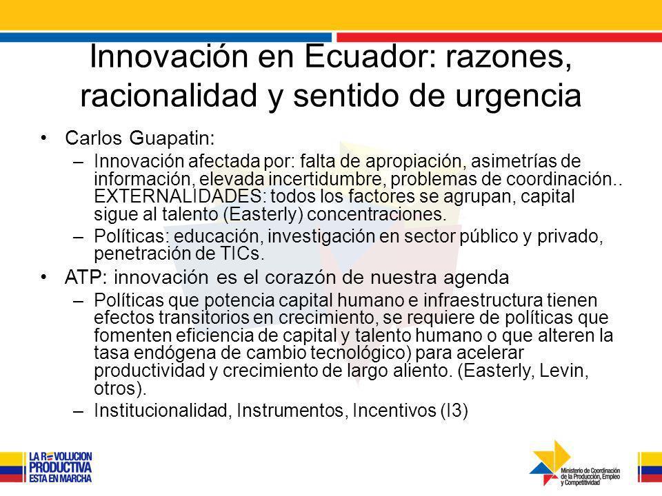 Innovación en Ecuador: razones, racionalidad y sentido de urgencia Carlos Guapatin: –Innovación afectada por: falta de apropiación, asimetrías de información, elevada incertidumbre, problemas de coordinación..