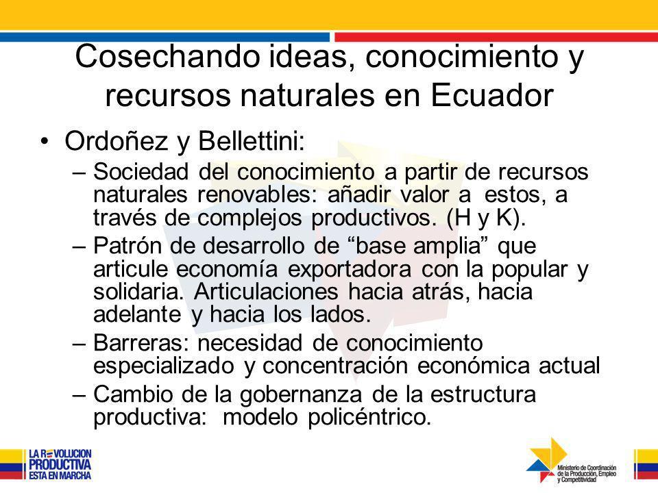 Cosechando ideas, conocimiento y recursos naturales en Ecuador Ordoñez y Bellettini: –Sociedad del conocimiento a partir de recursos naturales renovables: añadir valor a estos, a través de complejos productivos.