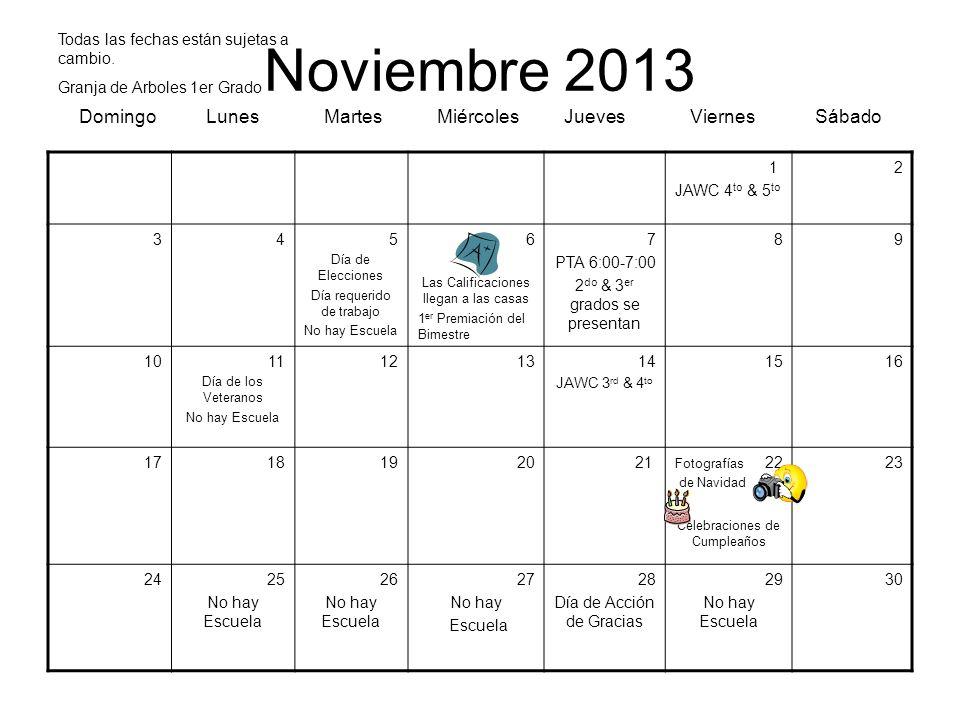 Noviembre 2013 Domingo Lunes Martes Miércoles Jueves Viernes Sábado 1 JAWC 4 to & 5 to 2 345 Día de Elecciones Día requerido de trabajo No hay Escuela