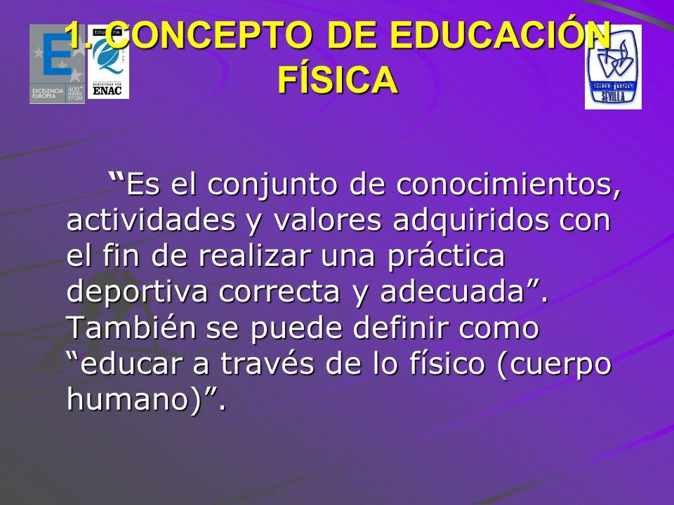 1. CONCEPTO DE EDUCACIÓN FÍSICA Es el conjunto de conocimientos, actividades y valores adquiridos con el fin de realizar una práctica deportiva correc