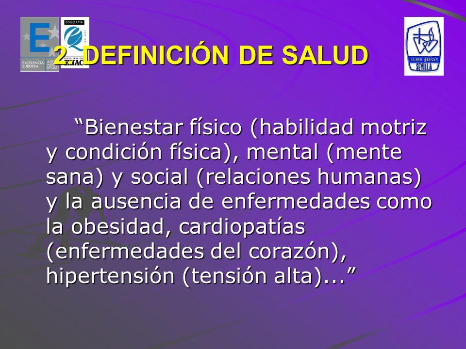 2. DEFINICIÓN DE SALUD Bienestar físico (habilidad motriz y condición física), mental (mente sana) y social (relaciones humanas) y la ausencia de enfe