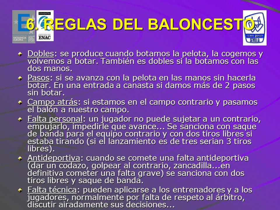 6. REGLAS DEL BALONCESTO Dobles: se produce cuando botamos la pelota, la cogemos y volvemos a botar. También es dobles si la botamos con las dos manos