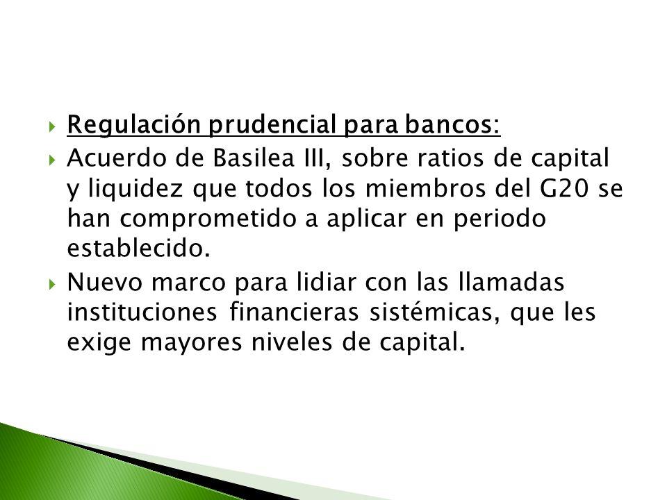 Regulación prudencial para bancos: Acuerdo de Basilea III, sobre ratios de capital y liquidez que todos los miembros del G20 se han comprometido a apl