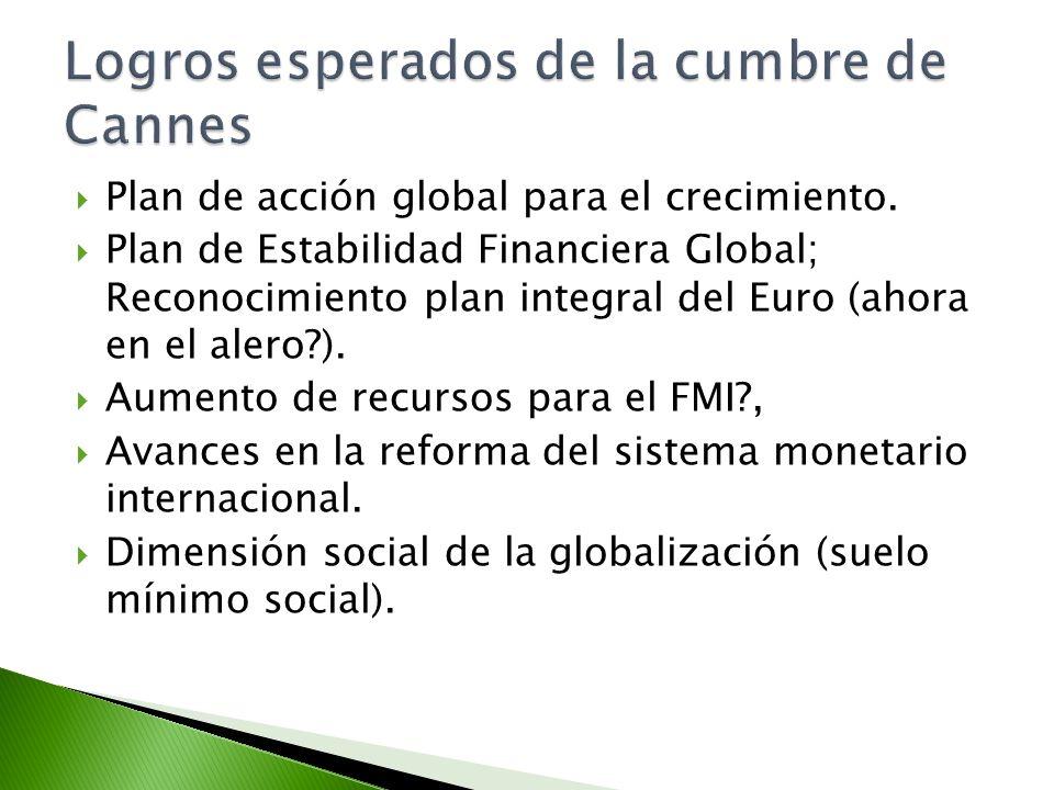 Plan de acción global para el crecimiento. Plan de Estabilidad Financiera Global; Reconocimiento plan integral del Euro (ahora en el alero?). Aumento
