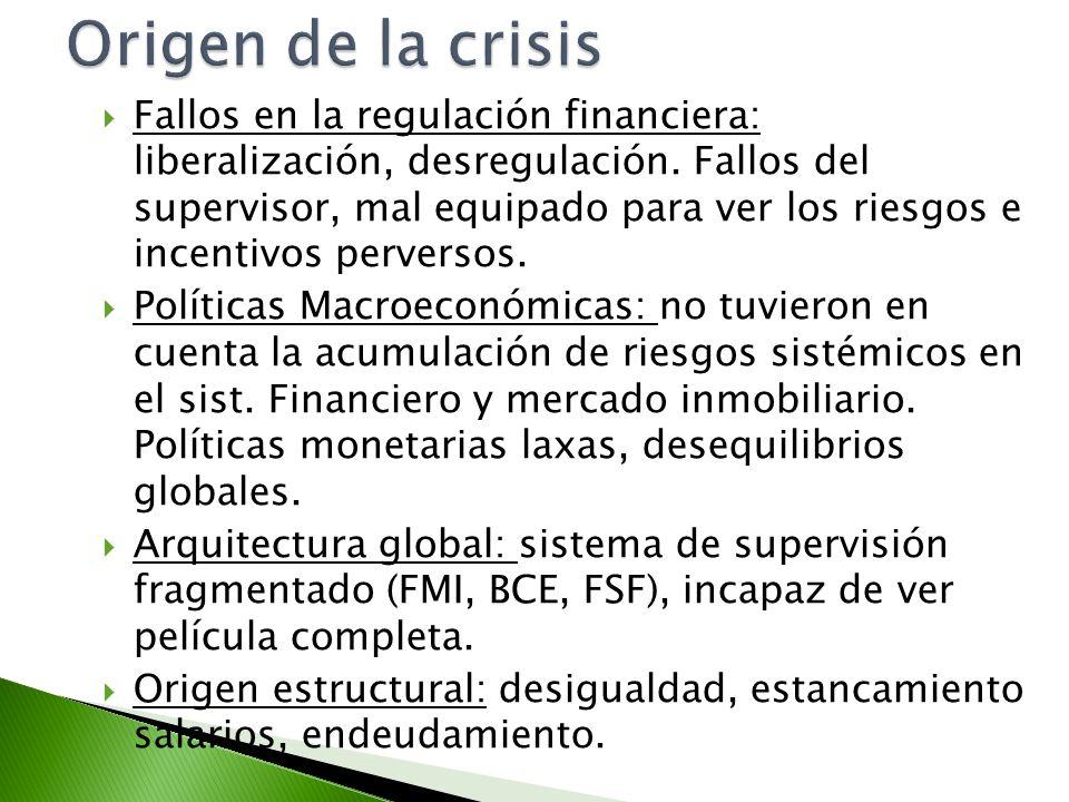 Fallos en la regulación financiera: liberalización, desregulación. Fallos del supervisor, mal equipado para ver los riesgos e incentivos perversos. Po