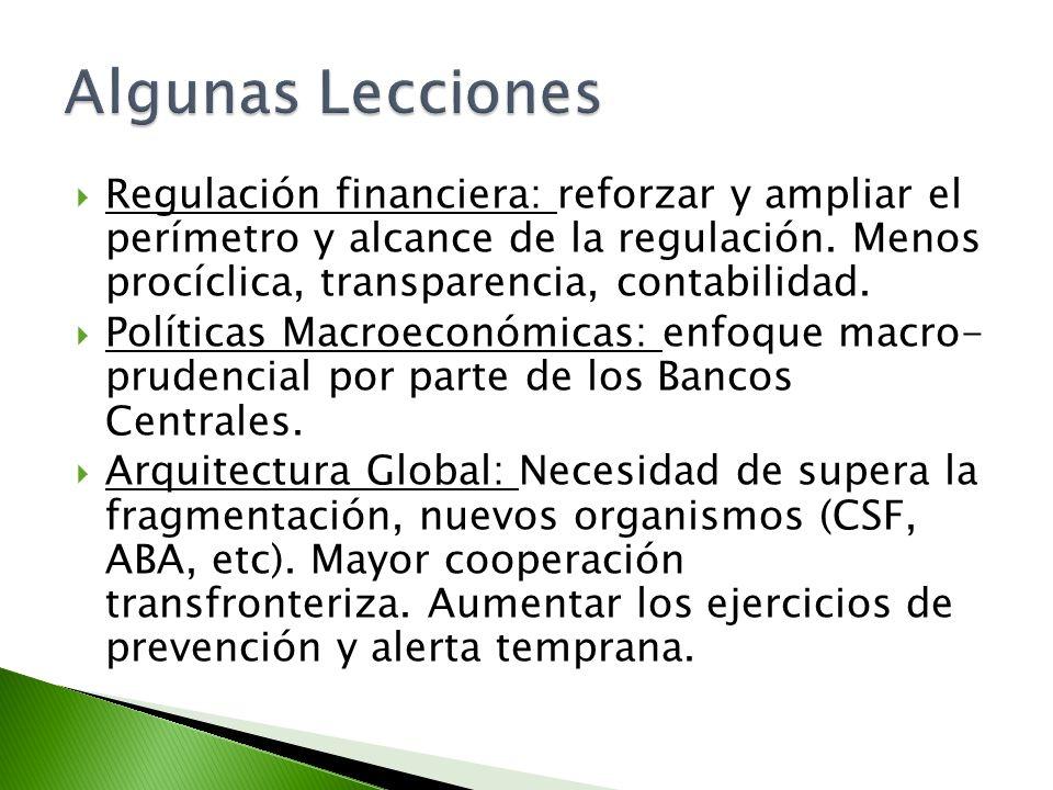 Regulación financiera: reforzar y ampliar el perímetro y alcance de la regulación. Menos procíclica, transparencia, contabilidad. Políticas Macroeconó