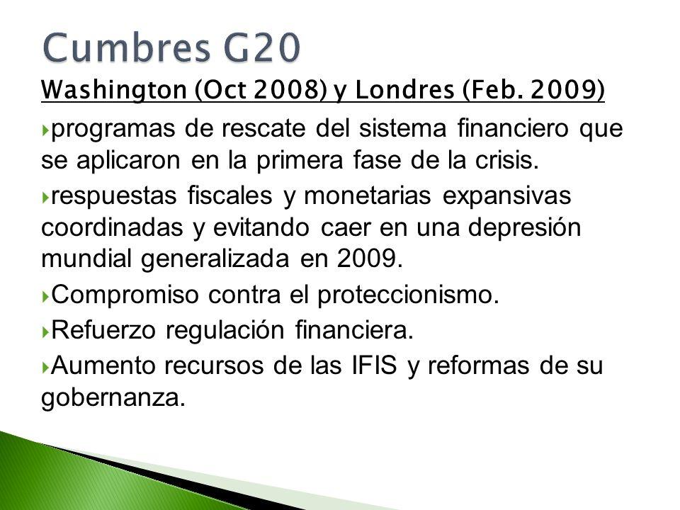 Washington (Oct 2008) y Londres (Feb. 2009) programas de rescate del sistema financiero que se aplicaron en la primera fase de la crisis. respuestas f