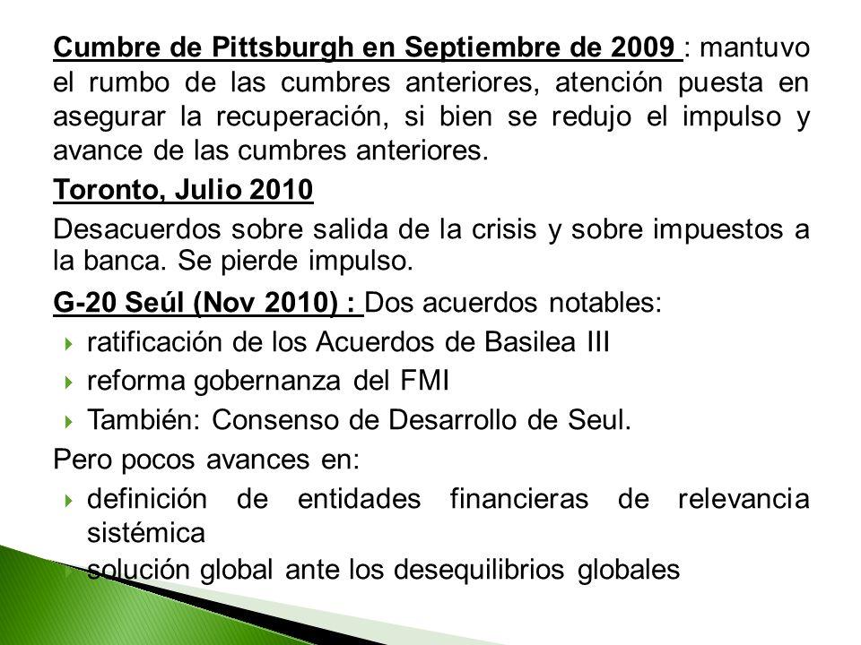 Cumbre de Pittsburgh en Septiembre de 2009 : mantuvo el rumbo de las cumbres anteriores, atención puesta en asegurar la recuperación, si bien se reduj