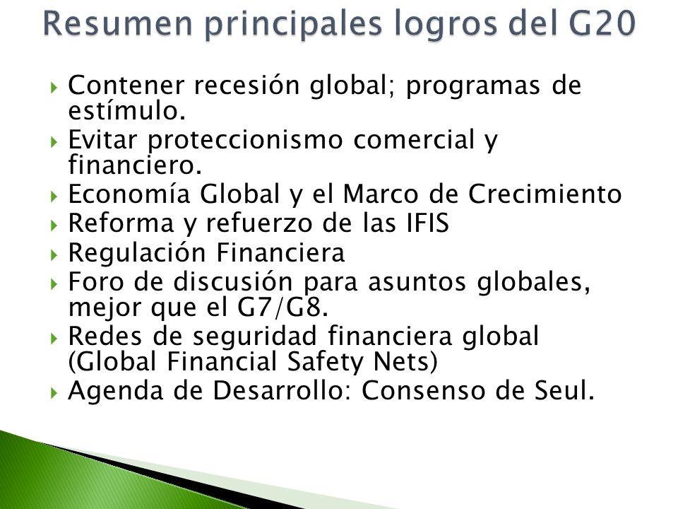 Contener recesión global; programas de estímulo. Evitar proteccionismo comercial y financiero. Economía Global y el Marco de Crecimiento Reforma y ref