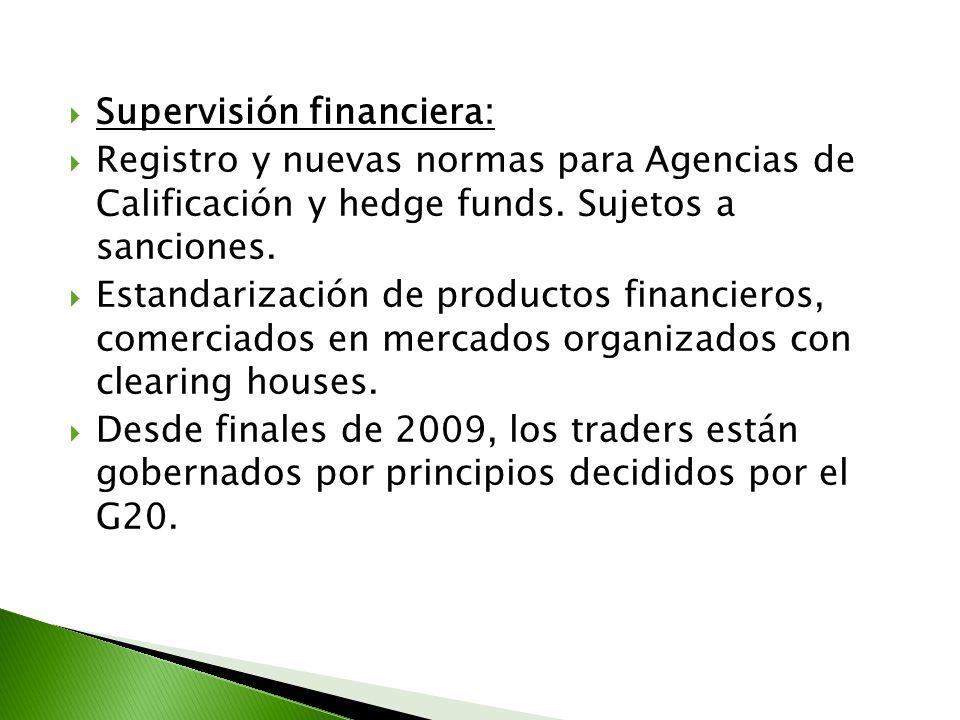 Supervisión financiera: Registro y nuevas normas para Agencias de Calificación y hedge funds. Sujetos a sanciones. Estandarización de productos financ