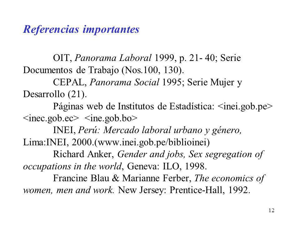 12 Referencias importantes OIT, Panorama Laboral 1999, p. 21- 40; Serie Documentos de Trabajo (Nos.100, 130). CEPAL, Panorama Social 1995; Serie Mujer