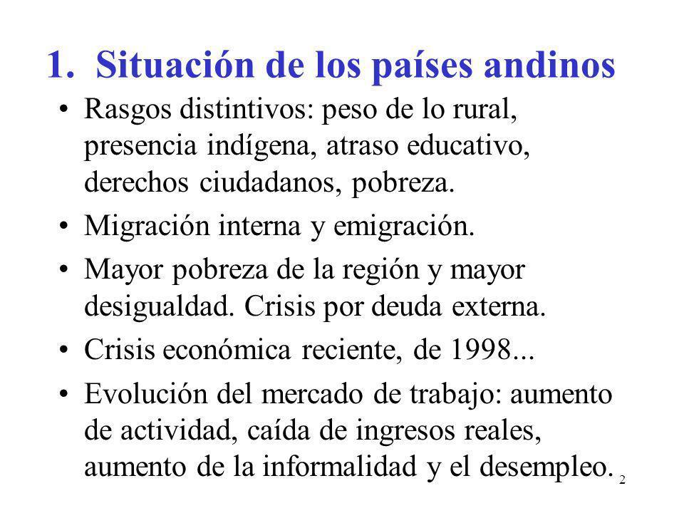 2 1. Situación de los países andinos Rasgos distintivos: peso de lo rural, presencia indígena, atraso educativo, derechos ciudadanos, pobreza. Migraci