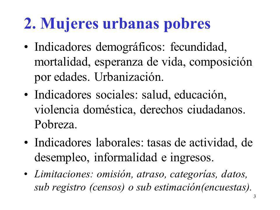 3 2. Mujeres urbanas pobres Indicadores demográficos: fecundidad, mortalidad, esperanza de vida, composición por edades. Urbanización. Indicadores soc