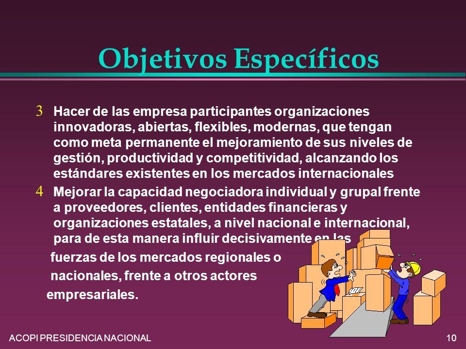 ACOPI PRESIDENCIA NACIONAL10 Hacer de las empresa participantes organizaciones innovadoras, abiertas, flexibles, modernas, que tengan como meta perman