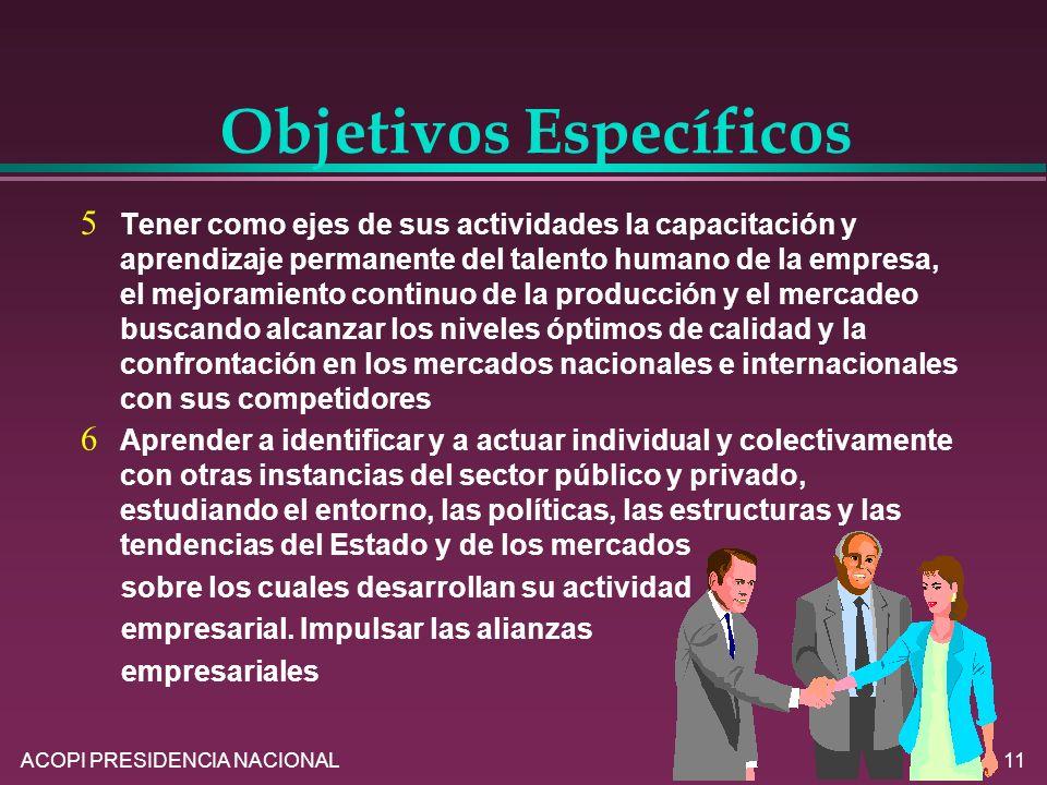 ACOPI PRESIDENCIA NACIONAL11 Tener como ejes de sus actividades la capacitación y aprendizaje permanente del talento humano de la empresa, el mejorami